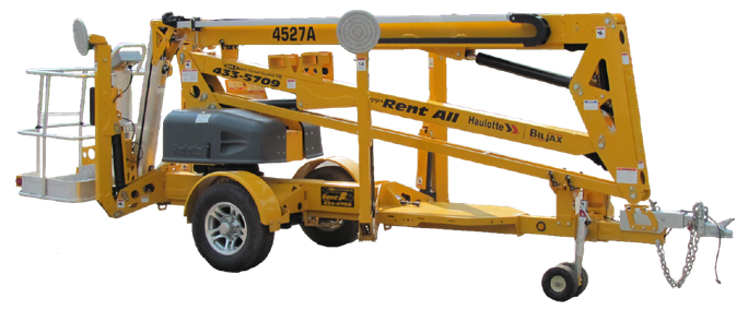 45' boom Lift in towable position